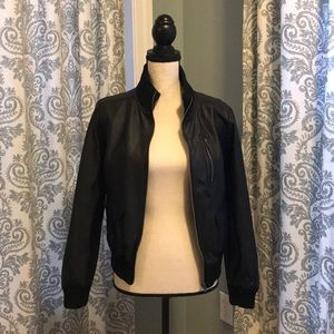 Vegan Leather Bomber Moto Jacket